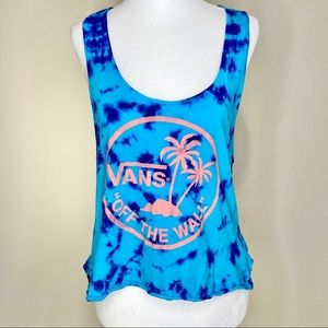 Vans Blue Tie Dye Tank Top with Vans Logo Medium